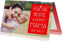 Fotokarte zum Muttertag rot anpassbar