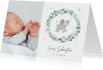 Fotokarte zur Geburt Kranz mit Elefant