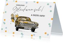 Führerschein bestanden Glückwunschkarte Vintage