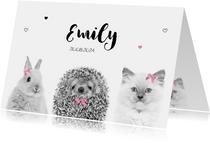 Geboortekaart - Lief baby konijntje, egeltje en kitten