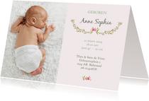 Geboortekaart meisje bloemen met foto