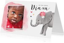 Geboortekaartje adoptie met lief olifantje voor een meisje