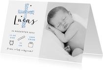 Geboortekaartje christelijk jongen kruis stijlvol foto