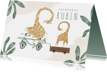 Geboortekaartje dag broertje giraffen op de fiets