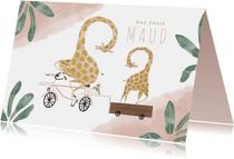 Geboortekaartje dag zusje giraffen fiets roze waterverf