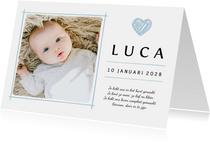 Geboortekaartje eigen babyfoto en blauw details