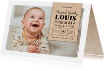 Geboortekaartje foto & label 'Original Brand'
