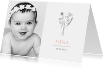 Geboortekaartje foto illustratie bloemen meisje