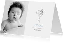 Geboortekaartje foto illustratie boeket jongen