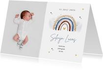 Geboortekaartje jongen regenboog waterverf lief hartjes foto