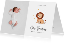 Geboortekaartje leeuw hartjes goud foto waterverf