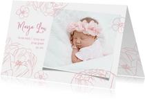 Geboortekaartje lief meisje foto & bloemen
