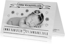Geboortekaartje lief zwart-wit