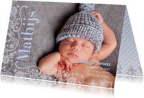 Geboortekaartje Lijn Bloem Blauw