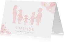 Geboortekaartje meisje met silhouet van 5 kinderen en hartje