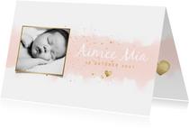 Geboortekaartje meisje met waterverf, hartjes en spetters