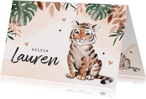 Geboortekaartje meisje tijger jungle waterverf