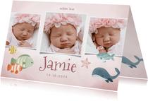 Geboortekaartje oceaan fotocollage meisje, vissen en walvis