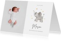 Geboortekaartje olifant hartjes stijlvol lief goud foto