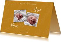 Geboortekaartje trendy oker tweeling met foto's en takjes