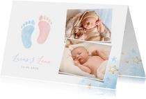 Geboortekaartje tweeling jongen meisje voetjes en foto's