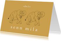 Geboortekaartje tweeling olifantjes lijntekening