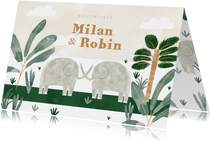 Geboortekaartje tweeling olifantjes met jungle bladeren