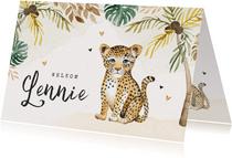Geboortekaartje unisex luipaard tropisch waterverf