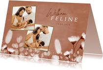 Geboortekaartje zachte kleuren met droogbloemen en foto's