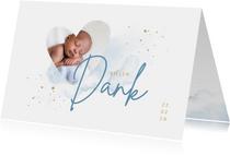 Geburt Danksagung Herz mit Foto hellbau