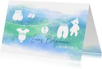 Geburtskarte Babykleidung blau