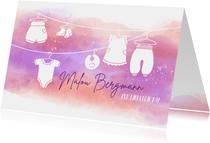 Geburtskarte Babykleidung