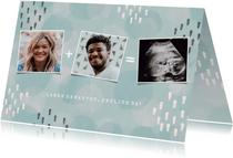Geburtskarte blau Fotocollage mit Ultraschallfoto