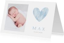 Geburtskarte Foto blaues Herz Aquarell