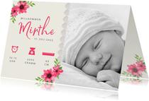 Geburtskarte Foto, Blumen & Symbole