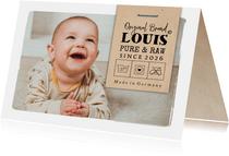 Geburtskarte Foto & Label 'Original Brand'