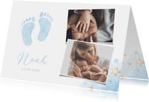 Geburtskarte Fotos & blaue Fußspuren