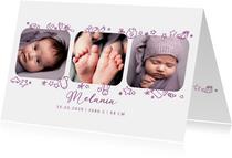 Geburtskarte Fotos und Icons - Violett
