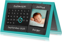 Geburtskarte Kalender blau auf Kreidetafel mit Foto