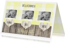 Geburtskarte Mehrling Foto drei Herzchen