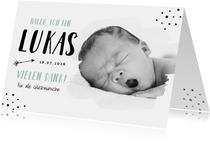 Geburtskarte mit Foto Hallo & Danke