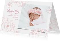 Geburtskarte mit Foto und Pfingstrosen