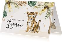 Geburtskarte mit kleinem Leopard und Palmen