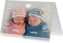 Geburtskarte Zwilling Foto & kleine Symbole