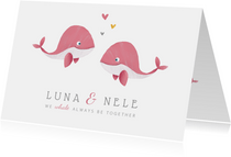 Geburtskarte Zwilling kleine Wale rosa