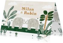 Geburtskarte Zwilling mit Elefanten, Wolken und Pflanzen