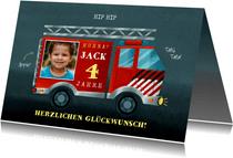 Geburtstags-Glückwunschkarte Feuerwehrauto & Foto