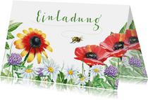 Geburtstagseinladung Blumenwiese und Biene