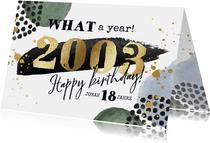 Geburtstagskarte 18. Geburtstag Goldschrift