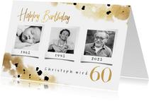 Geburtstagskarte 3 Fotos mit Datum